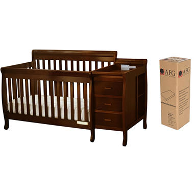 AFG Kimberly 3-in-1 Crib, Changer with Toddler Rail and Compressed Deluxe Mattress (Various Colors)