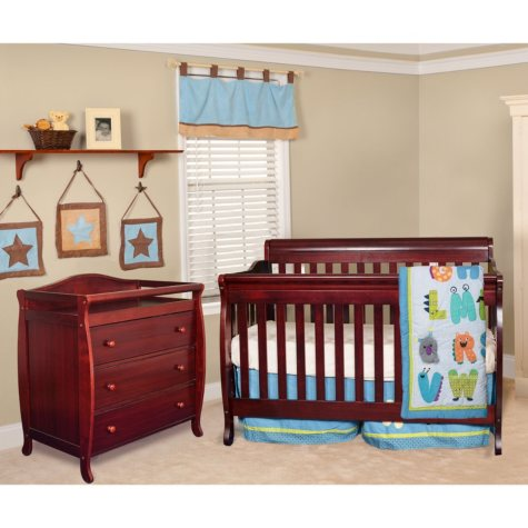 AFG Alice 4-in-1 Crib and Grace 3-Drawer Changer, Cherry