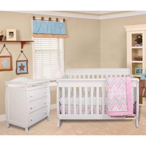 AFG Alice 4-in-1 Crib and Grace 3-Drawer Changer, White
