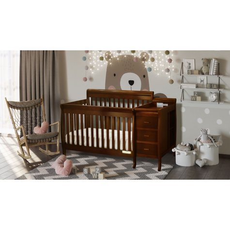 AFG Kimberly 3-in-1 Crib, Changer with Toddler Rail and Deluxe Mattress (Various Colors)