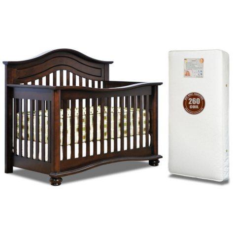 AFG Lia 4-in-1 Convertible Crib with 260-Coil Mattress, Espresso