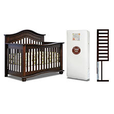 AFG Lia 3-in-1 Convertible Crib with Mattress and Guardrail, Espresso