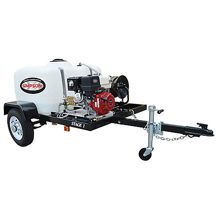 SIMPSON 3800 PSI at 3.5 GPM HONDA GX270 with CAT Triplex Pump Industrial Gas Powered Pressure Washer Trailer
