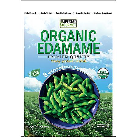 Imperial Gourmet Organic Edamame Single Servings, Frozen (8 bags)