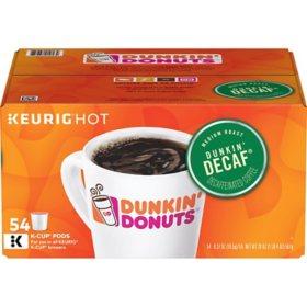 Dunkin' Donuts Decaf Coffee K-Cups, Medium Roast (54 ct.)