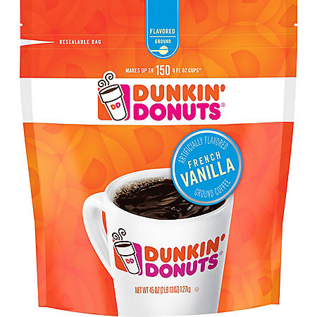 Dunkin' Donuts French Vanilla Blend Ground Coffee, Medium Roast (45 oz.)