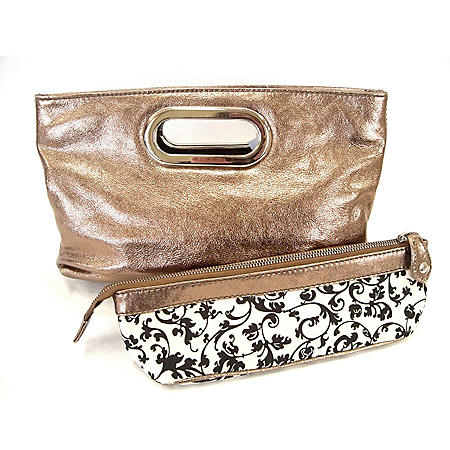 Tasche Crinkle Patent Leather Clutch - Copper