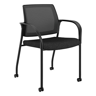 HON Ignition Series Mesh Back Mobile Stacking Chair, Black
