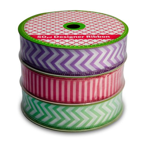 3 Pack Wired Ribbon - Purple Chevron, Mint Chevron and Fuchsia Stripe (50 yds.each )