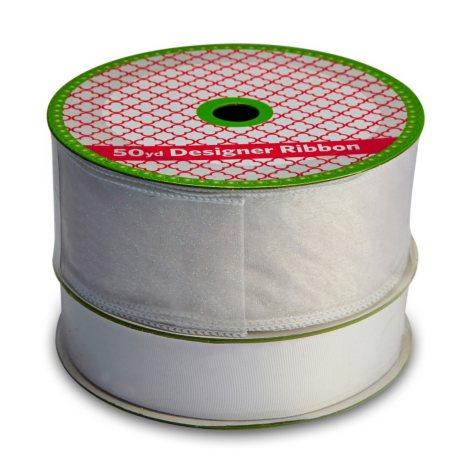 2 Pack Ribbon - Wired White Sheer Glitter and Woven White Grosgrain (50 yds. each)