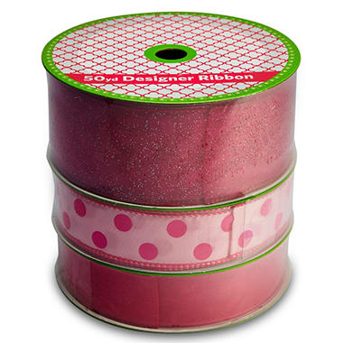 3 Pack Wired Ribbon - Fuchsia Satin, Pink with Fuchsia Polka Dot and Woven Fuchsia (50 yds.each)