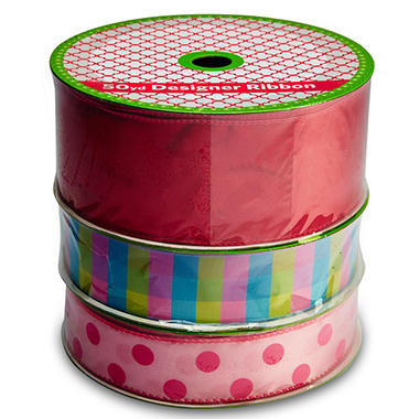 3 Pack Wired Ribbon - Fuchsia Satin, Blue Plaid and Pink with Fuchsia Polka Dots (50 yds. each)