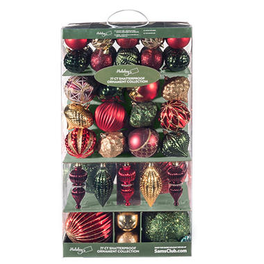 - Member's Mark Shatterproof Ornament Collection, Christmas Luxe (77