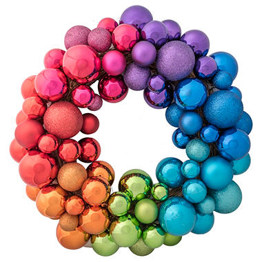 rainbowxmasbaublewreath