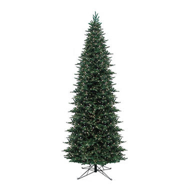 15' Pre-Lit Angle Fir Slim Christmas Tree