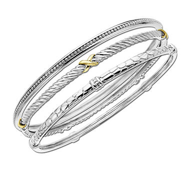 Sterling Silver Bangle Set - 3 Pc.