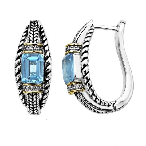 3.33 ct. t.w. Blue Topaz and Diamond Earrings in Sterling Silver & 14K Yellow Gold