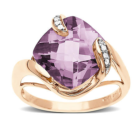 4.5 ct. Lite Amethyst & Diamond Accent Ring in 14K Rose Gold