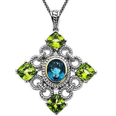 7.75 ct. t.w. Licensed Blue Topaz & Peridot Pendant in Sterling Silver & 14K Yellow Gold