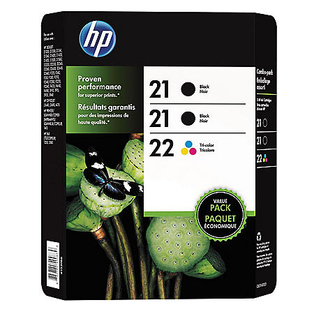 HP 21/21/22 Original Ink Cartridge, Black/Tri-Color (3 Pk., 190 Page Yield)