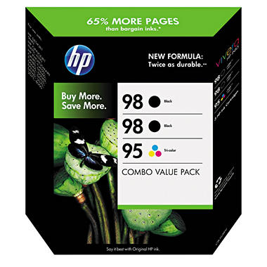 HP 98/98/95 Original Ink Cartridge, Black/Tri-Color (3 pk., 420 Page Yield)