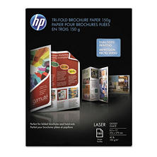 HP Tri-Fold Laser Brochure Paper, 40lb, 97 Bright, 8 1/2 x 11, White, 150 Sheets