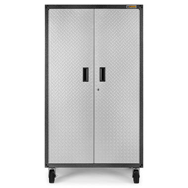 Gladiator 36 Inch Ready To Emble Steel Rolling Garage Cabinet In Silver Tread