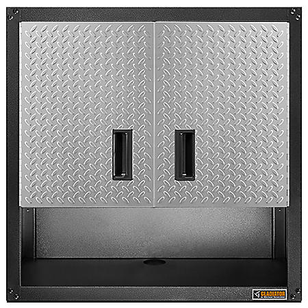 Gladiator 28-inch Ready to Assemble Steel 2-Door Garage Wall Cabinet with Shelf in Silver Tread