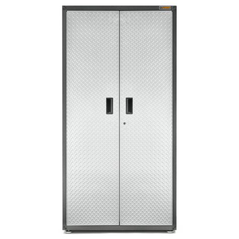 Gladiator 36-inch Ready to Assemble Steel Freestanding Garage Cabinet in Silver Tread