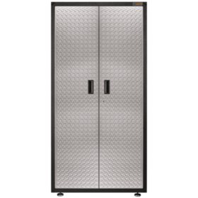 Gladiator 36-inch Ready-to-Assemble Steel Freestanding Garage Cabinet in Silver Tread