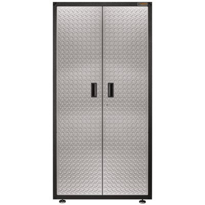 Gladiator 36 Inch Ready To Assemble Steel Freestanding Garage Cabinet In  Silver Tread