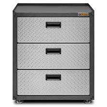 Gladiator 28-inch Ready to Assemble Steel 3-Drawer Freestanding Garage Cabinet in Silver Tread