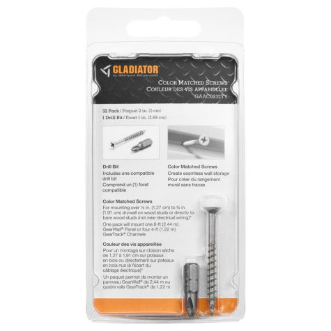 Gladiator 2-inch White Screws for Garage GearTrack Channels and GearWall Panels