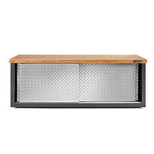 Gladiator 54-inch Ready to Assemble Steel Garage Storage Bench with Bamboo Top & Silver Tread Plate doors