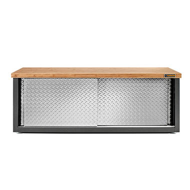 gladiator 54inch ready to assemble steel garage storage bench with bamboo top u0026 silver - Gladiator Shelving