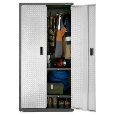 Gladiator 36 Inch Ready To Assemble Steel All Seasons Freestanding Garage  Cabinet In Silver Tread