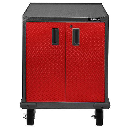 Gladiator 28-inch Premier Series Pre-Assembled Steel 2-Door Rolling Garage Cabinet in Racing Red Tread