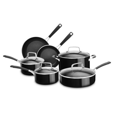 KitchenAid 10-Piece Aluminum Nonstick Cookware Set (Assorted Colors)