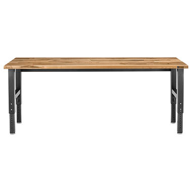 Gladiator 8-ft Hardwood Top Adjustable Height Workbench in Hammered Granite