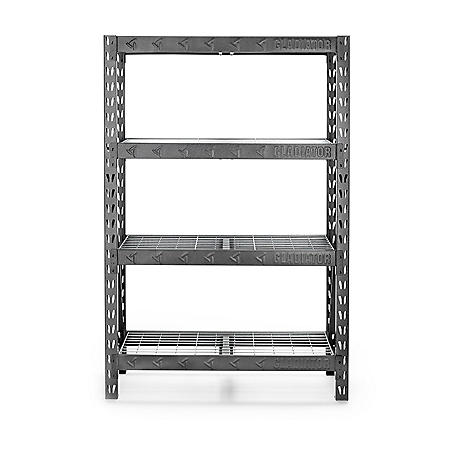 """Gladiator 48"""" Wide Heavy-Duty Rack with Four 18"""" Deep Shelves"""