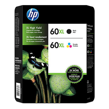 HP 60XL High Yield Original Ink Cartridges, Combo Pack (2 pk.)