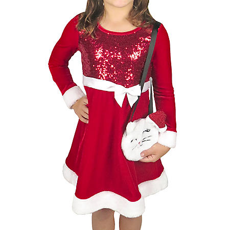 Pink and Violet Velvet Santa Dress with Purse
