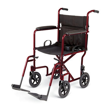 Deluxe Lightweight Aluminum Transport Wheelchair - Red