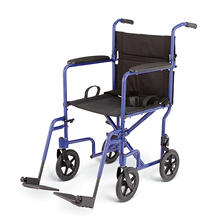 Deluxe Lightweight Aluminum Transport Wheelchair - Blue