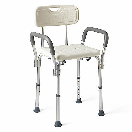 Medline Bath Bench with Back and Padded Arms, White