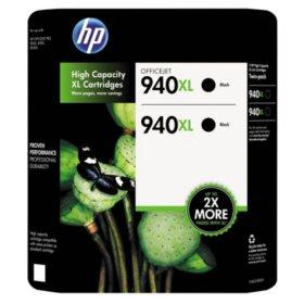 HP 940XL High Yield Original Ink Cartridge, Black (2 pk., 2,200 Page Yield)