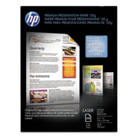 HP Color Laser Presentation Paper, 32lb, 95 Bright, 8 1/2 x 11, White, 250 Sheets