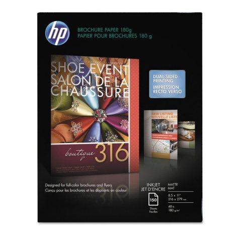 HP Inkjet Brochure/Flyer Paper, 48lb, 103 Bright, 8 1/2 x 11, White, 150 Sheets