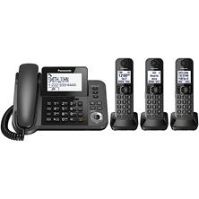 Panasonic DECT 6.0 Corded/Cordless Phone with Answering Machine and 3 Handsets