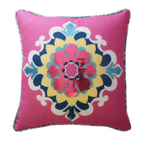"""Waverly Kids Bollywood Sequin Decorative Accessory Pillow, 15"""" x 15"""""""